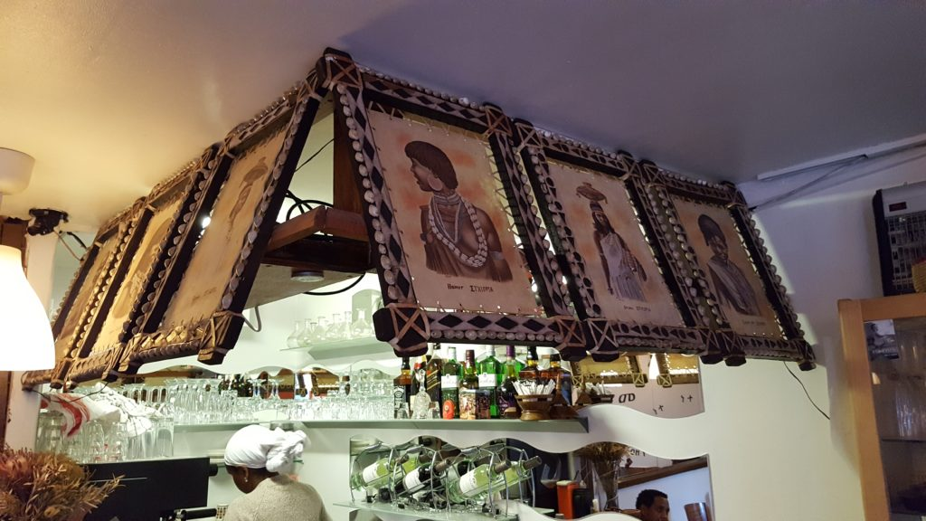 Decorations on the bar depicting Ethiopian ethnic groups